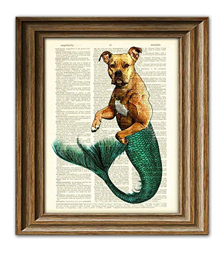 Max Merpibble the Mermaid Pit Bull Is Super Swole Dictionary Page Dog Pitbull Book Art -