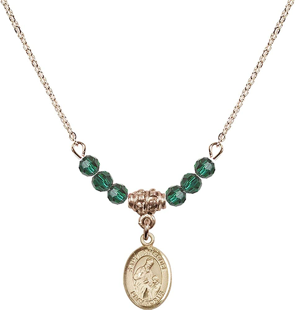 18-Inch Hamilton Gold Plated Necklace with 4mm Emerald Birthstone Beads and Gold Filled Saint Ambrose Charm.