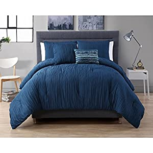 4 Piece Queen Royal Blue Comforter Set Textured Theme Contemporary Style Luxury