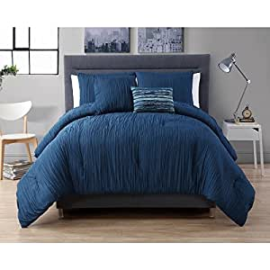 4 piece queen royal blue comforter set textured theme contemporary style luxury - Look contemporary luxury bedding ...