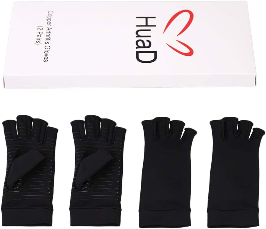 Black, Medium Osteoarthritis 2 Pairs Copper Compression Arthritis Gloves Open Finger Arthritis Gloves for Relieve Pain from Rheumatoid Carpal Tunnel for Women and Men