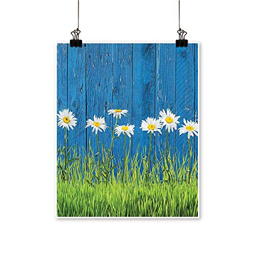 "Artwork for Office DecorationsFresh Spring Grass and Daisy On A Fence Summer Simple Vintage Style Print Canvas Living Room,24"" W x 40"" L/1pc(Frameless)"