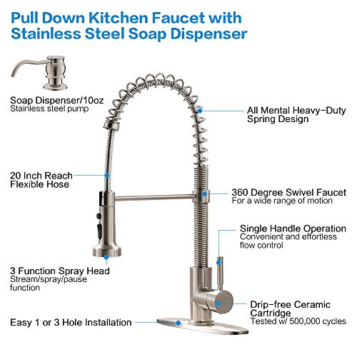 Bokaiya Kitchen Faucet and Soap Dispenser Combo Single Handle Farmhouse Spring Pull Down Kitchen Sink Faucet, Brushed Nickel