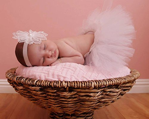 Band Sweetheart (White Tutu and Headband SET - Sweetheart Cupcake Style Newborn Tutu Set, White Headband with pearls, babies first photography.)