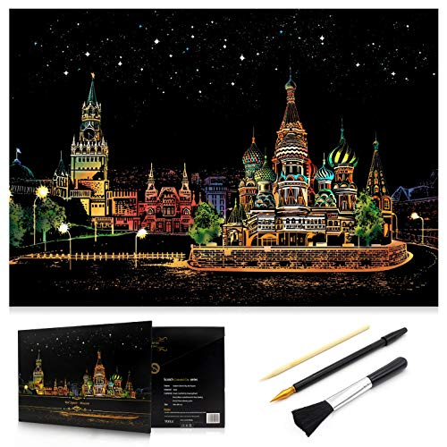Scratch Art Rainbow Painting Paper, Sketch Pad DIY Night View Scratchboard for Kids & Adults, Engraving Art & Craft Set, Scratch Painting Creative Gift, 16'' x 11.2'' with 3 Tools (Red Square-Russia) ()