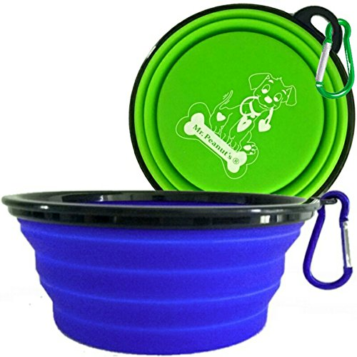 "Mr. Peanut's Extra Large 34oz, 7"" Diameter, 2 Pak Collapsible Dog Bowls for Large & Med Dogs, Dishwasher Safe BPA Free Food Grade Silicone, Portable Foldable Travel Bowls for Journeys & Hikes (2 Pak)"