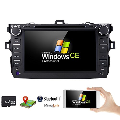 hizpo for Toyota Corolla 2007-2011 Car DVD Player 8 Inch Touch Screen GPS Stereo iPhone Music/AM FM Radio/SWC/Bluetooth/AV-in