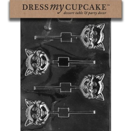 Dress My Cupcake Chocolate Candy Mold, Cat Head Lollipop, Halloween