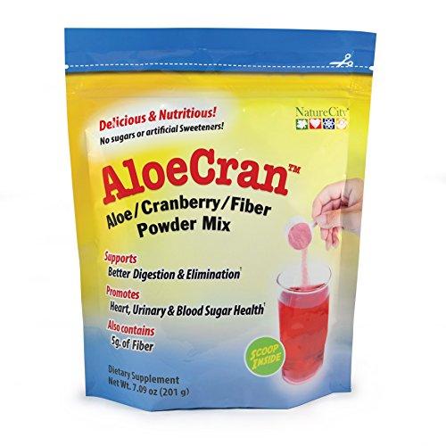 AloeCran порошок смешать с NatureCity (без сахара) - 30 порций - Алоэ Вера сок клюквы волокна