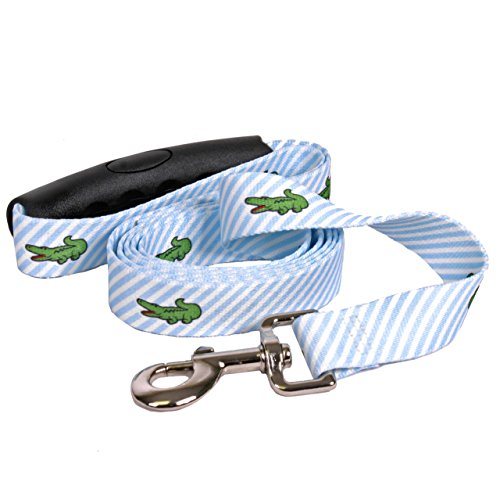 Dawg Blue with Alligators Dog Leash with Comfort Grip Handle-Medium-3/4