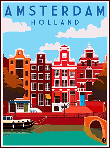 (A SLICE IN TIME Amsterdam Dutch Holland Netherlands Europe Travel Art Wall Decor Collectible Poster Advertisement Print. Poster measures 10 x 13.5 inches )