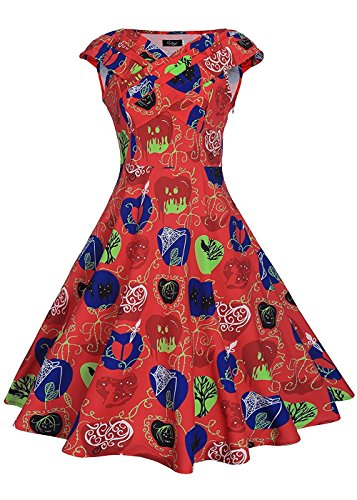 Ruiyige Modest Halloween Costumes 1950s Inspired Vintage Dress Apple Print Red 2XL