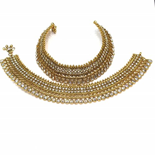 Jewelshingar Jewellery Polki / Kundan /Gold Plated Payal / Pajeb / Anklet For Women ( 14990-payal ) by Jewelshingar