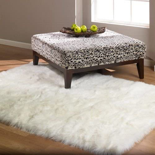 Flokati Faux Fur Rugs 3 x 5 Pure White