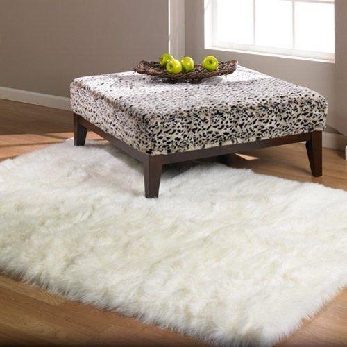 Flokati Faux Fur Rugs 3 x 5 Pure White