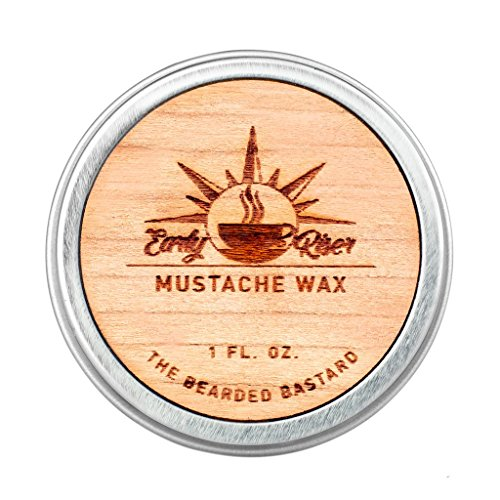 Early Riser Mustache Wax | A Strong All Day Hold | Men's Mustache Grooming, Hydrating, Beeswax, Lanolin and Jojoba Essential Oil, Facial Hair Care Products | All Natural, 1 Ounce Tin (Best Mustache Wax For Hold)