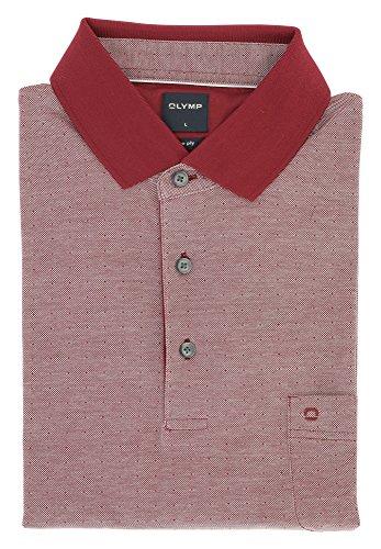 OLYMP Herren Poloshirt aus feinste Zwirnqualität   Modern Fit mit Polokragen & Seitenschlitze   100% Baumwolle Gr. L Dunkelrot