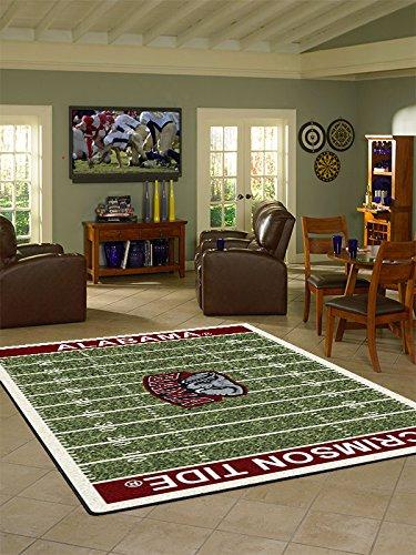 Alabama College Home Football Field Rug: (College Football Rugs)