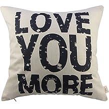 HOSL Love You More Cotton Linen Pillow Cover, 17.3 x 17.3-Inch, White