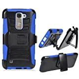 Phone Case for LG Treasure 4g LTE (Straight Talk) / LG Phoenix 2 (AT&T) / LG Escape 3 / LG K7 / LG M1 / Tribute 5 Blue Edge Cover Stand Combo Holster