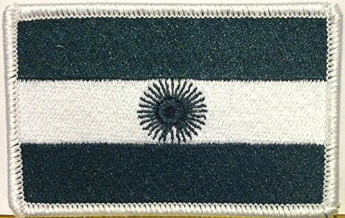 Argentina Flag Iron On Patch Tactical Military Evergreen White Border ()