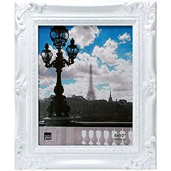 Amazon.com - 8x10 Picture Frame Ornate White - Mount Desktop Display ...