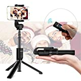 Bluetooth Selfie Stick Tripod Monopod with Wireless Remote Shutter Compatible with iPhone, Samsung, Huawei, Other Smartphones (Black, Standard)