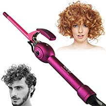 inkint 9mm Small Size Ceramic Curling Irons/ Hot Hair Curler with 6 Speed Adjustable Temperature Travel Hair Styling Tools with Worldwide Voltage for Women and Men (Curler)