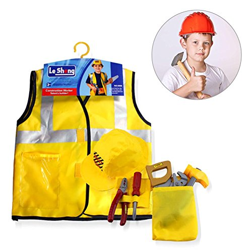 (Construction Worker Costume Set,Engineering Dress up Cosplay Children Role Play Toy Kit with Tools Halloween Christmas Gift for Kids Toddlers Boys Ages)
