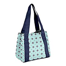 Fit & Fresh Venice Insulated Lunch Bag with Reusable Ice Pack (Navy Patchwork), Aqua