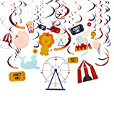 30-Count Swirl Decorations - Circus Themed Birthday Party Decorations, Ceiling Streamers, Hanging Carnival Attraction Decorfor Kids, Assorted Designs and Colors - Hanging Length: 34 to 37 Inches