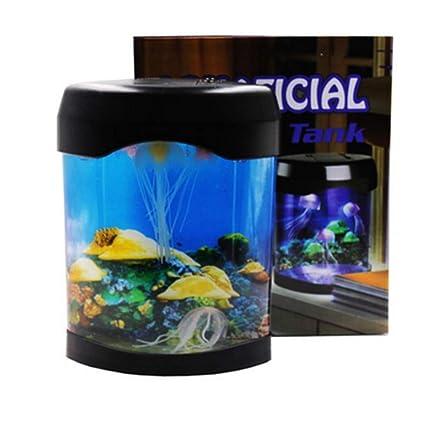 XINYUANJIAFANG Pequeña pecera acrílico Color Medusa lámpara Mini Escritorio Ornamental Peces Medusas batería USB Acuario