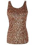 PrettyGuide Women Shimmer Glam Sequin Embellished Sparkle Tank Top Vest Tops XXL Gold Pink