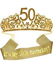 50th Birthday Gifts for Women, 50th Birthday Sash, 50th Birthday Tiara, 50th Birthday Decorations for Her, 50th Birthday Gold Tiara for Women, 50th Birthday, 50th Sash Birthday Girl