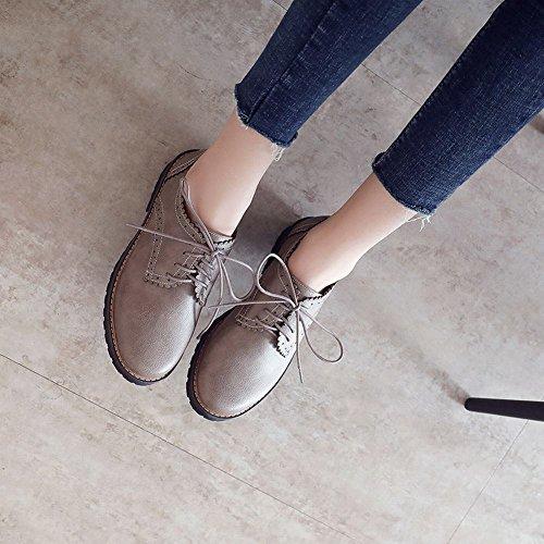 Casual Carolbar Lace Fashion Shoes Oxfords Women's Retro Up Grey Comfort HXnBHq