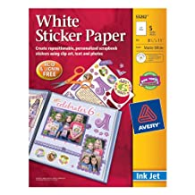 Avery Dennison 532-2 Craft Supplies 8-1/2 Inch by 11 Inch Ink Jet Sticker Paper with CD, Matte White, 5 Per Package