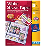 Avery Sticker Paper, 8.5 x 11 Inches, White, Pack of 5 (53202)