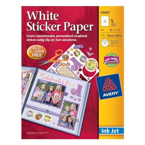 Avery Sticker Paper, 8.5 x 11 Inches, White, Pack of 5