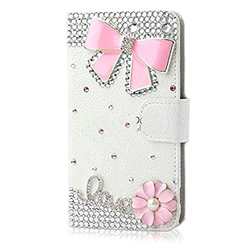 KAKA(TM Bowknot Flower Crystal Rhinestone PU Leather Wallet Flip Protective Skin Case Cover with Credit Card Holder For Samsung Galaxy S6 Edge Plus