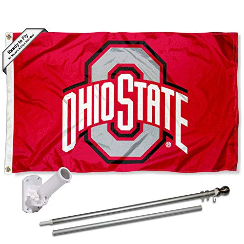 (Ohio State Buckeyes Athletic Flag with Pole and Bracket Kit)