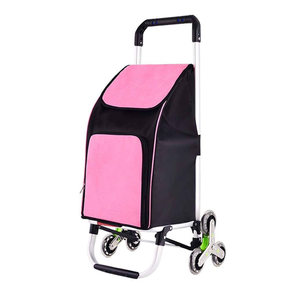 ショッピングカートの階段は食料雑貨市場のための6つの車輪で登る軽量モビリティショッピングトロリー荷物組織バッグ、アルミニウム合金/オックスフォードファブリック (色 : Pink)  Pink B07GFNQ8BQ