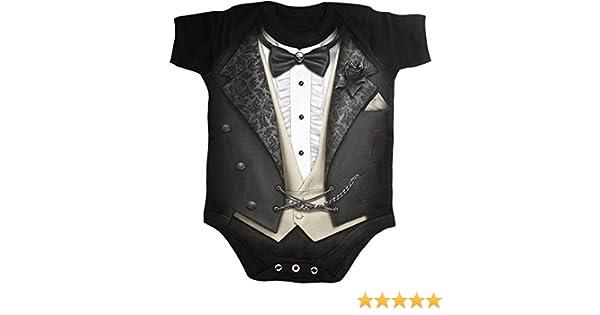 Tuxed baby sleepsuit tuxedo black formal playsuit vest Spiral Direct romper