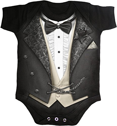 Spiral - Baby-Boys - TUXED - Baby Sleepsuit Black - M -