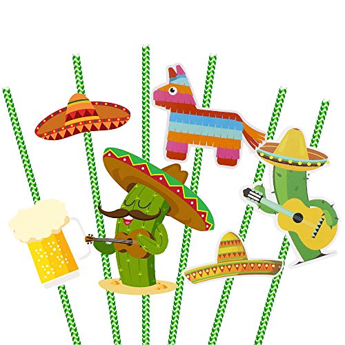 Mexican Straw - Let's Fiesta Paper Straw Decor - Hysagtek 6 Pattern Mexican Drinking Straws Cocktail Decorative Straws for Mexican Fiesta Party/Theme Party Striped Straws - Set of 36