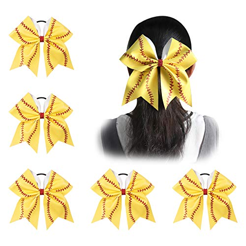 Ncmama Girls Big Yellow Leather Red Glitter Softball Cheer Hair Bow for Dancing Cheerleader pack of 5