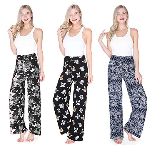 Buttery Soft Pajama Pants for Women - Floral Print Drawstring Casual Palazzo Sweatpants Wide Leg for All Seasons (M, ()