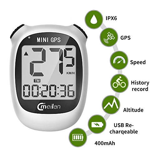 GPS Bicycle Computer, Mini M3 Bike Speedometer and Odometer Wireless Waterproof with LCD Display, IPX5 Waterproof & USB Rechargeable for Bike,White