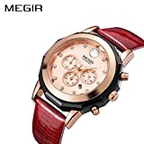 MEGIR Women Casual Quartz Work Watch, Analog Chronograph Waterproof Stylish Dress Watch with Leather Band