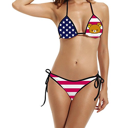 Hotgirl4 Women Unique Relax Cute Bear Flag Summer Beach Swim Bikini Suit Black 1 Size