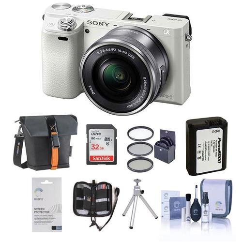 (Sony Alpha A6000 Mirrorless Digital Camera with 16-50mm E-Mount Lens, White - BUNDLE with Camera Bag, 32GB Class 10 SDHC Card, Spare Battery, Tripod, 40.5mm Filter Kit, Cleaning Kit, Card Case)